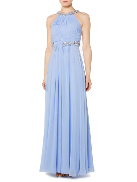 Eliza J Halter neck gown with beaded neckline and waist