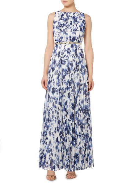Eliza J Belted pleated skirt maxi dress