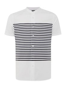 Armani Jeans Short Sleeve Grandad Collar Striped Shirt