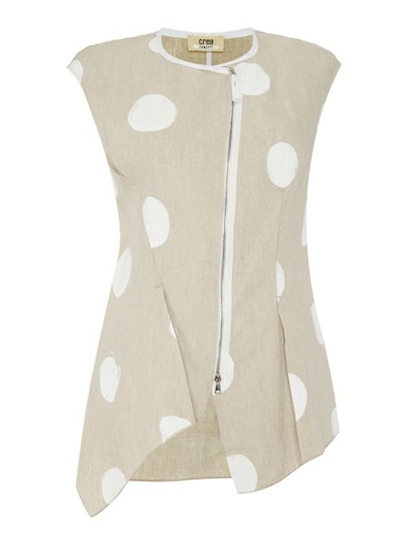 Crea Concept Zip Up Spotted Gilet