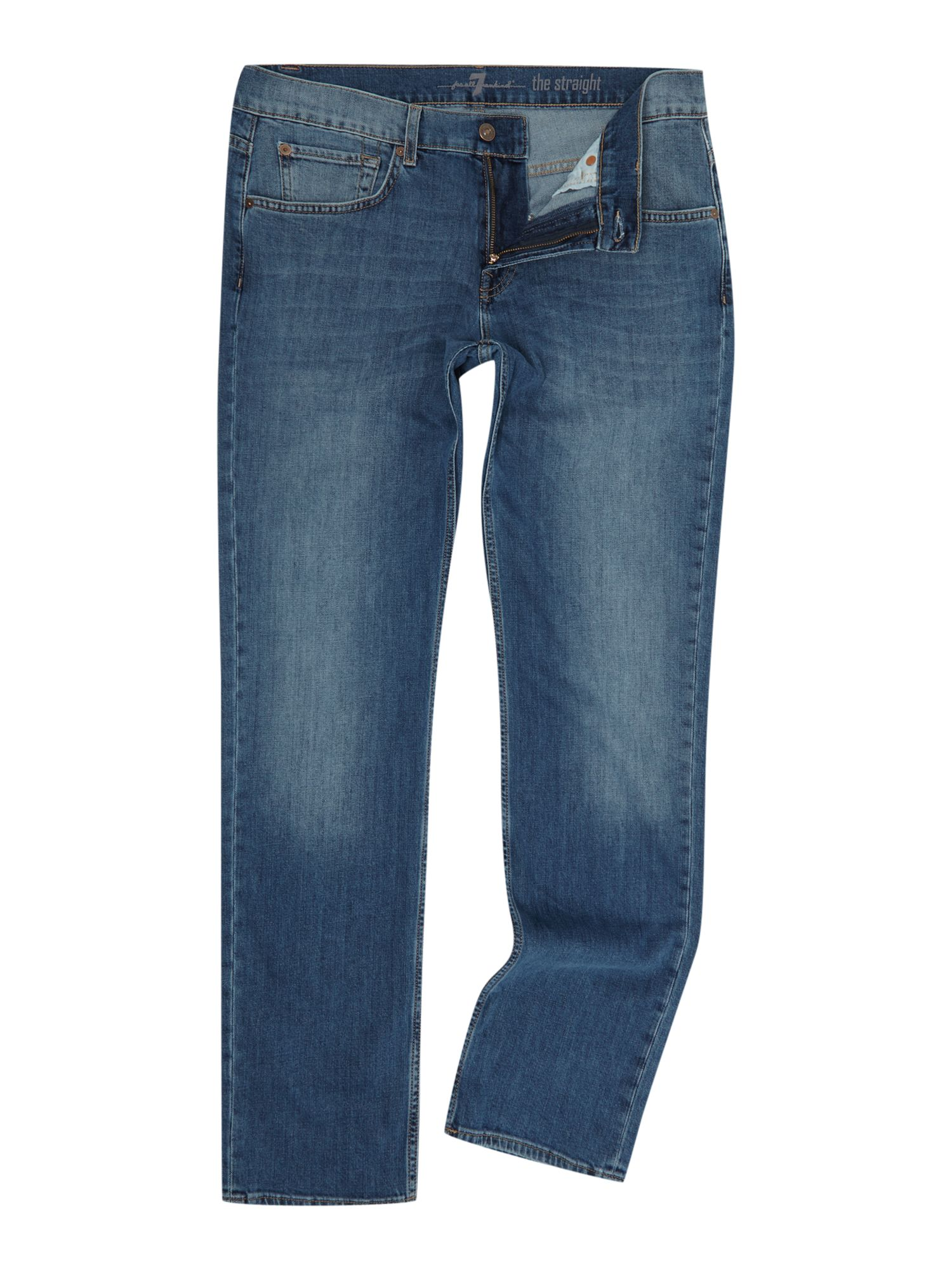 7 For All Mankind Men's 7 For All Mankind The Straight `NY` Medium Wash Stretch Jeans, Denim