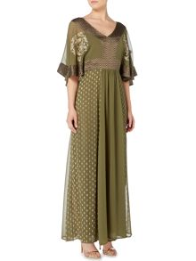 Biba Embroidered tie waist maxi dress