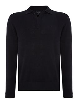 Long Sleeve Logo Cotton Knitted Polo