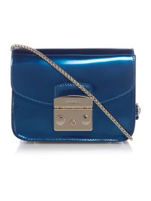 Metropolis blue metallic cross body bag