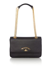 Vivienne Westwood Divina black flapover chain shoulder bag