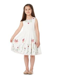 Little Dickins & Jones Girls Butterfly embroidered sequin dress