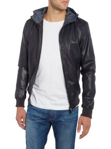 Armani Jeans Perforated Hooded Zip Up Faux Leather Jacket