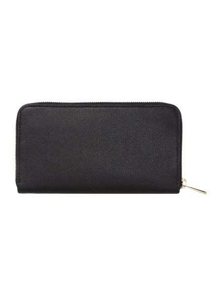 Furla Babylon black large zip around purse
