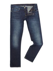 Armani Jeans J06 Slim Fit Cross Hatch Mid Wash Jeans