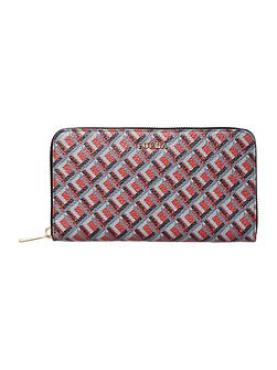 Babylon red large zip around purse