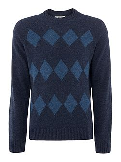 Men's Original Penguin Argyle Lambswool Crew-Neck Jumper