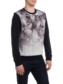 Religion Crew neck bird print contrast sleebe sweatshirt