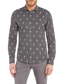 Religion Regular fit diamond and skull print shirt