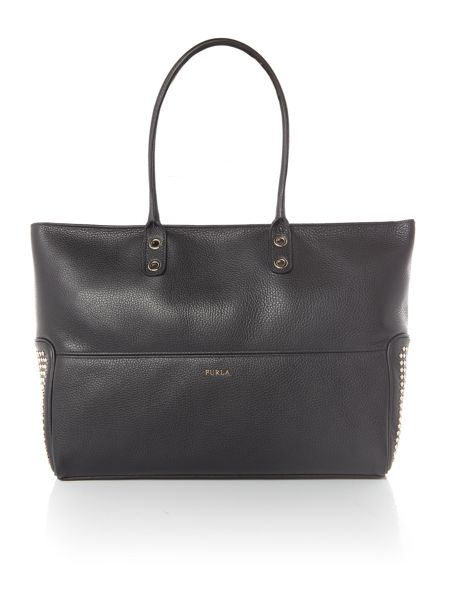 Furla Astra black large tote bag with studs
