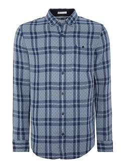 Long sleeve quilted doublecloth plaid shirt