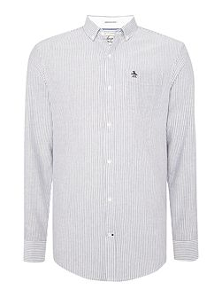 Long sleeve brushed striped oxford shirt