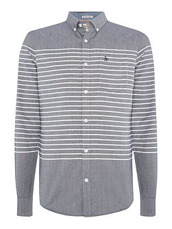Long sleeve enginered villa stripe oxford shirt