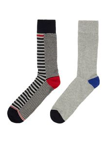 Linea 2 Pack Contrast Stripe Socks