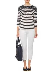 Dickins & Jones Scatter Sequin Embellished Stripe Top