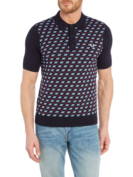 Fred Perry Graphic argyle knitted polo