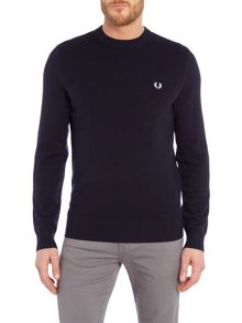 Textured tuck stitch crew neck