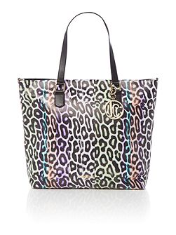 Multi coloured leopard print tote bag
