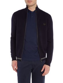 Fred Perry Textured tuck stitch zip thru