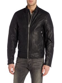 Attacc leather look bomber jacket