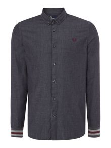 Fred Perry Chambray mix bomber cuff long sleeve shirt