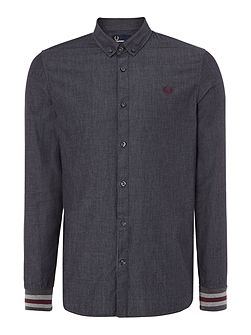 Men's Fred Perry Chambray mix bomber cuff long