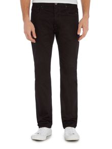 Revend raw black straight leg jean