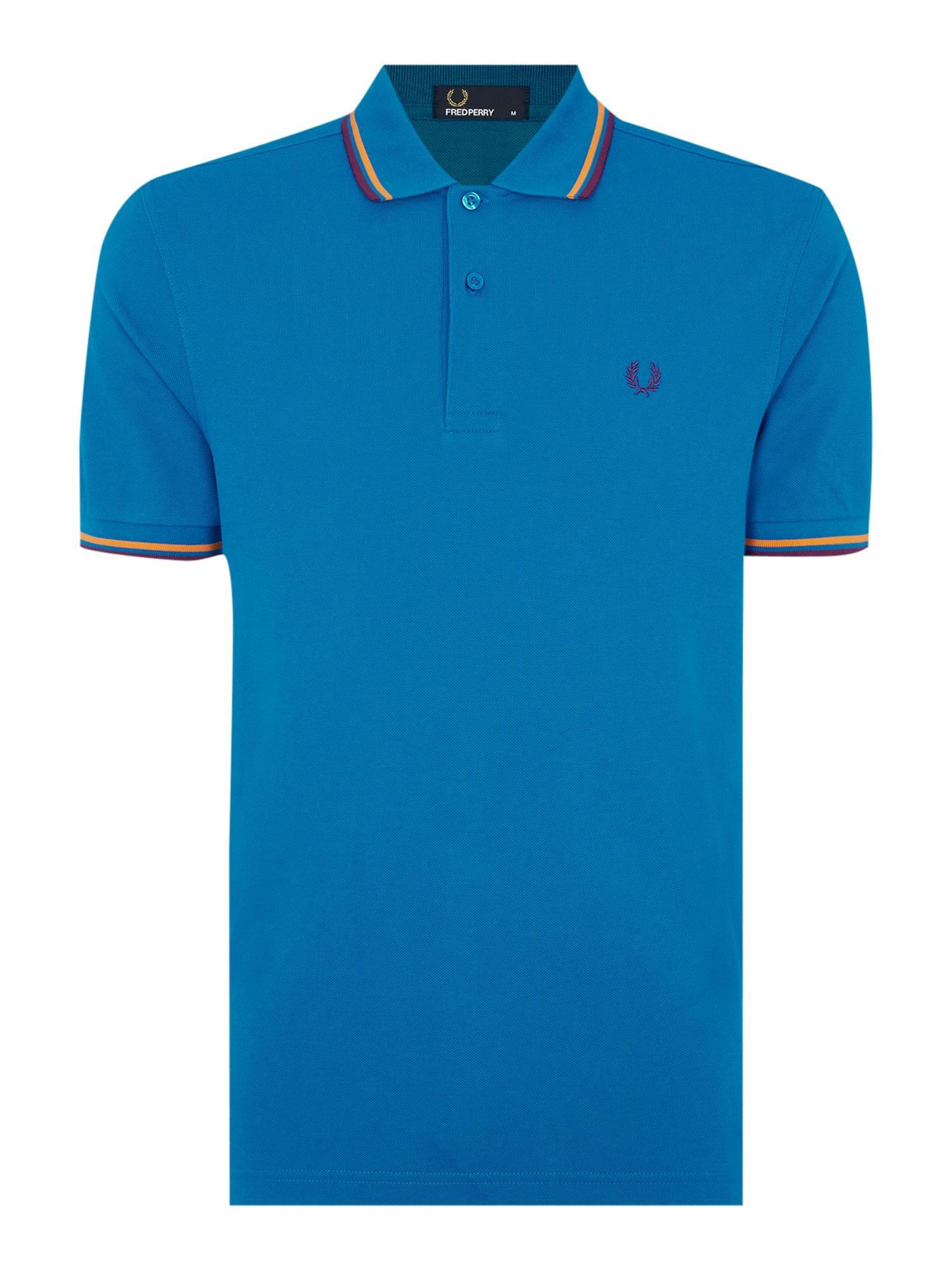 Mens Fred Perry Twin Tipped Regular Fit Polo Shirt Sea Blue
