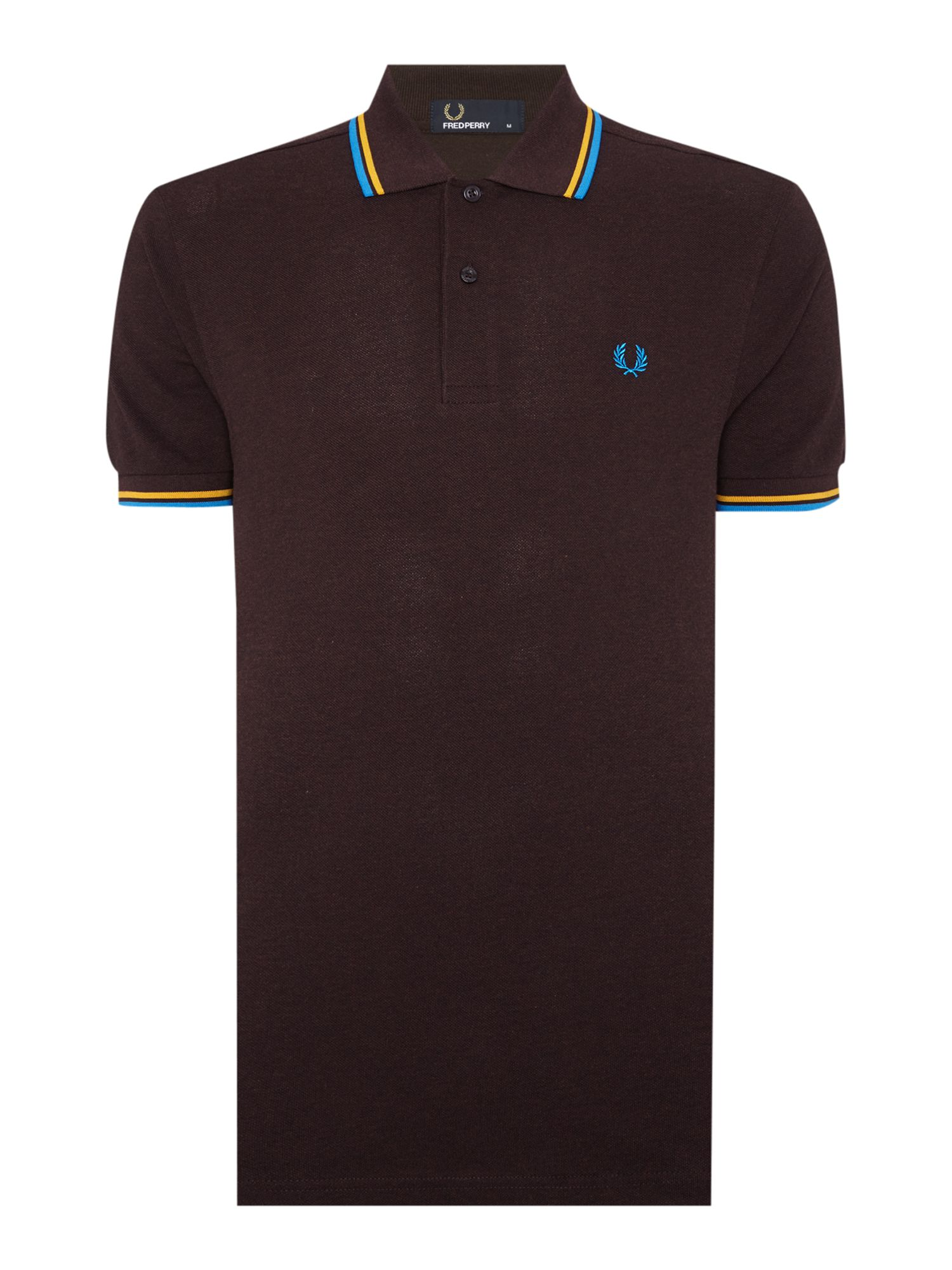 Mens Fred Perry Twin Tipped Regular Fit Polo Shirt Chocolate