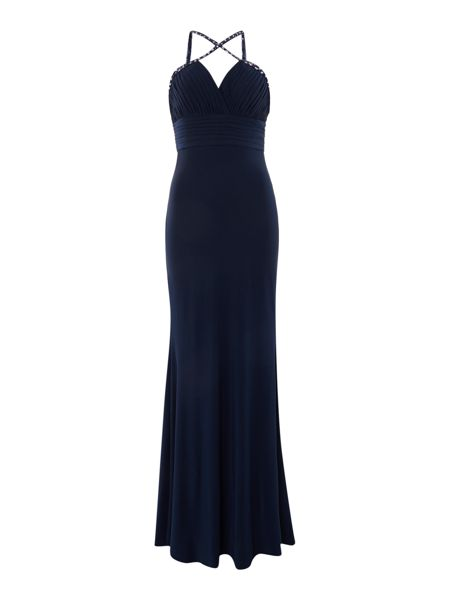 JS Collections Jersey gown with studded strap