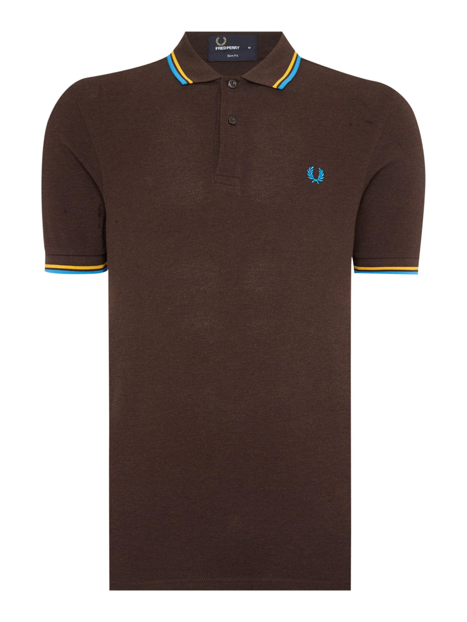 Mens Fred Perry Twin Tipped Slim Fit Polo Shirt Chocolate