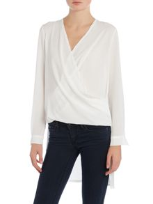 Wal-G Long Sleeved V Neck Wrap Top
