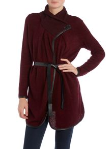 Long Sleeved High Neck Button Knitted Cardigan