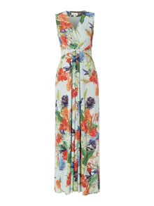 Chinoiserie print maxi dress