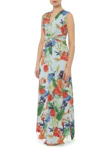 Linea Chinoiserie print maxi dress