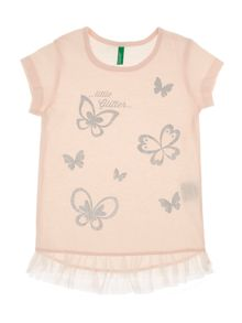 Benetton Girls Glitter butterfly tee