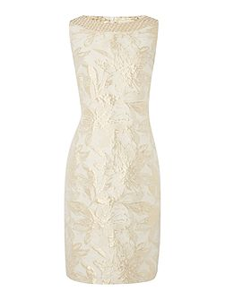 Made in britain gold jacquard floral dress