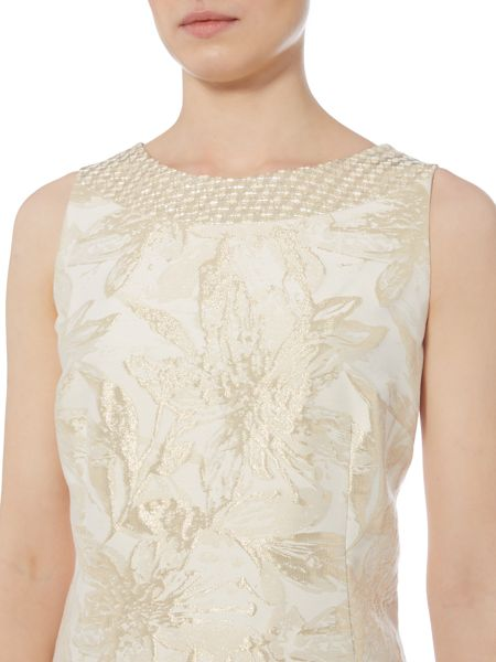 Linea Made in britain gold jacquard floral dress
