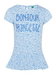 Benetton Girls Bonjour princesse graphic tee