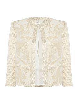 Made in britain gold jacquard floral jacket.