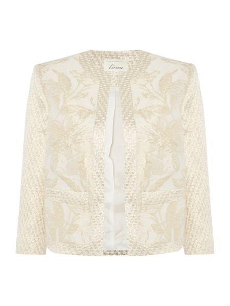 Linea Made in britain gold jacquard floral jacket.