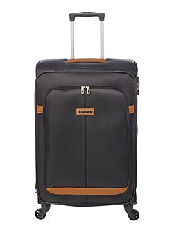 Caphir black 4 wheel soft medium suitcase