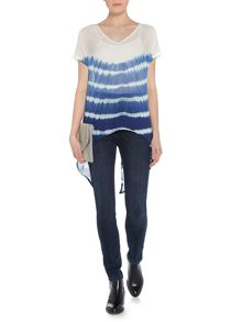 Label Lab Stripe tie dye split back blouse