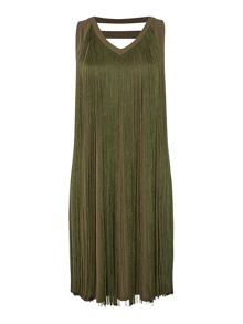 Biba Fringed sleeveless jersey dress