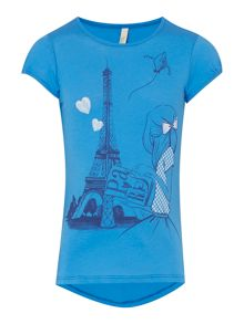 Girls Paris eiffel tower girl tee