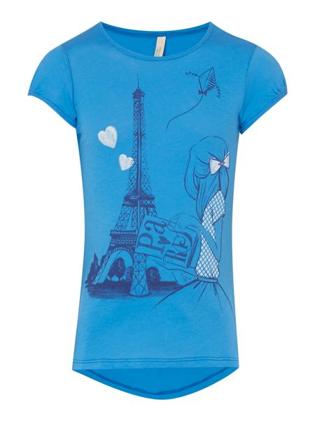 Benetton Girls Paris eiffel tower girl tee